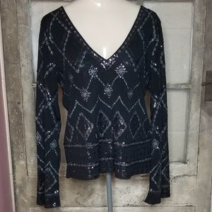 NWT Express blouse small juniors black sequin